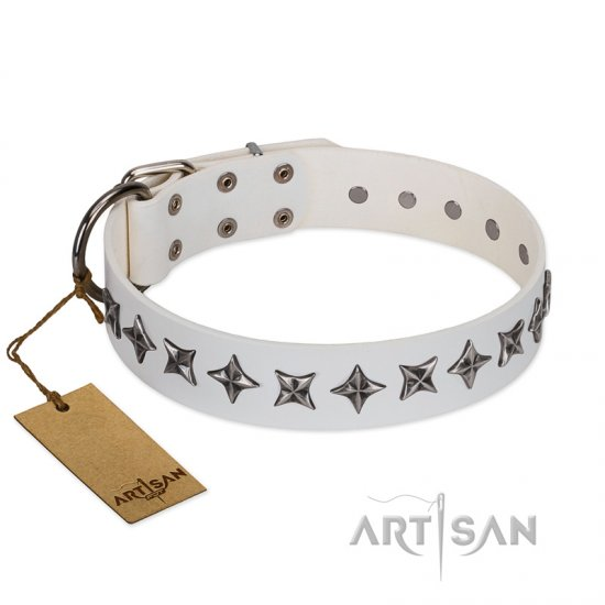 """Midnight Stars"" FDT Artisan Fashionable Leather Dog Collar with Old Silver-like Plated Decorations 1 1/2 inch (40 mm) Wide"