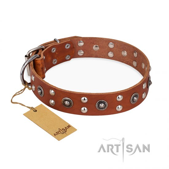 'Silver Elegance' FDT Artisan Decorated Leather Dog Collar with Old Silver-Like Plated Studs and Cones 1 1/2 inch (40 mm) Wide