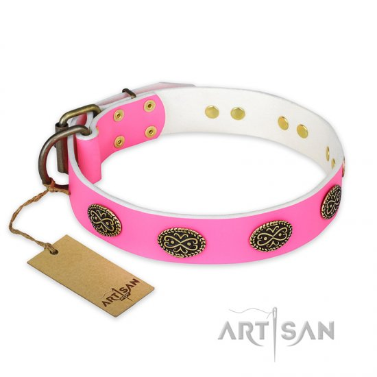 'Forever Fashion' FDT Artisan Leather Dog Collar with Old Look Plates - 1 1/2 inch (40 mm) wide