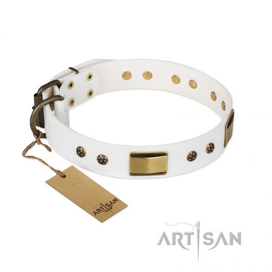 'Precious Necklace' FDT Artisan White Leather Dog Collar with Old Bronze Look Plates and Studs - 1 1/2 inch (40 mm) wide