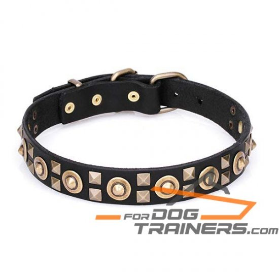 'Futuristic style' Leather Canine Collar with Old Bronze-plated Decoration