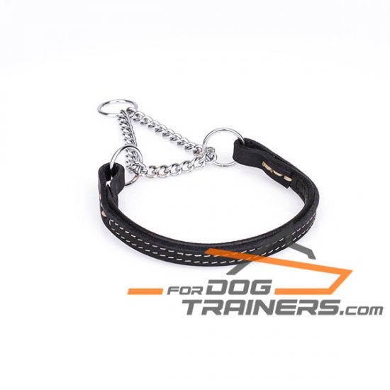 'Extreme Comfort' Martingale Leather Dog Collar with Strong Chain