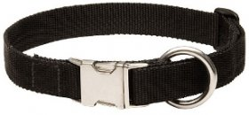 Adjustable Black Nylon Dog Collar with Quick Release Buckle