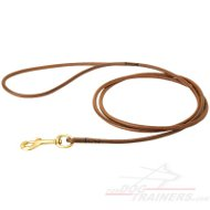 Expertly Handcrafted Round Leather Dog Leash for Dog Shows