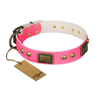 'Vintage and Glamour' FDT Artisan Pink Leather Dog Collar with Old Silver Look Plates and Skulls - 1 1/2 inch (40 mm) wide