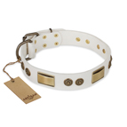 'Golden Avalanche' FDT Artisan White Leather Dog Collar with Old Bronze Look Plates and Circles - 1 1/2 inch (40 mm) wide