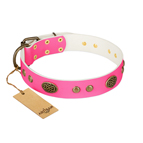 'Twinkle Pink' FDT Artisan Pink Leather Dog Collar with Old Bronze Look Plates and Circles - 1 1/2 inch (40 mm) wide