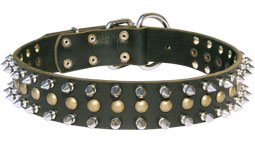 30%Discount-S60 - Leather Dog Collar with 2 Rows Spikes+1 Row Studs