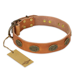 'Magic Amulet' FDT Artisan Tan Leather Dog Collar with Oval Studs