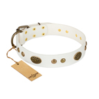 'The Snow Queen' FDT Artisan White Leather Dog Collar with Decorations