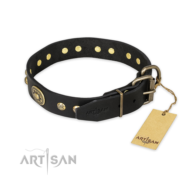 Black leather dog collar with sturdy hardware