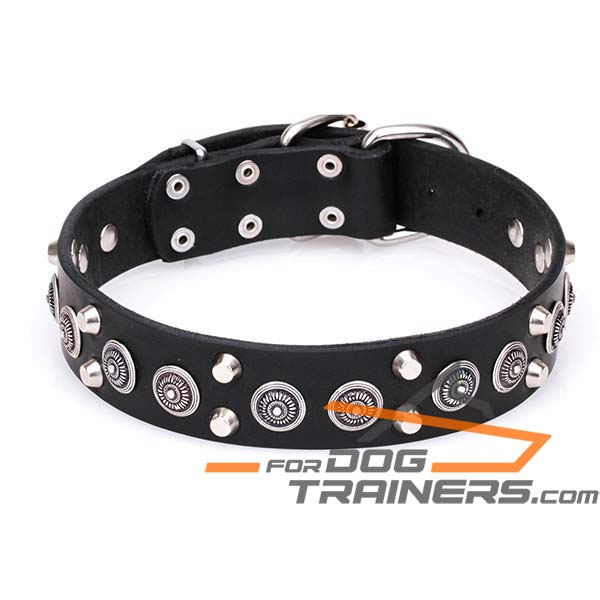 Dog Leather Collar with Double Cones and Circles