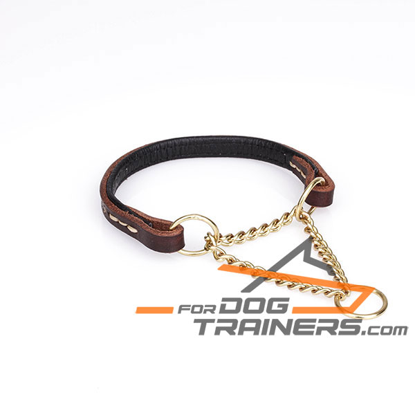Leather Dog Collar with Rust-proof Steel Chain