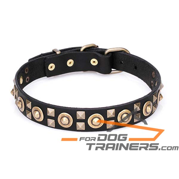 Dog Leather Collar with Old Bronze-plated Adornment