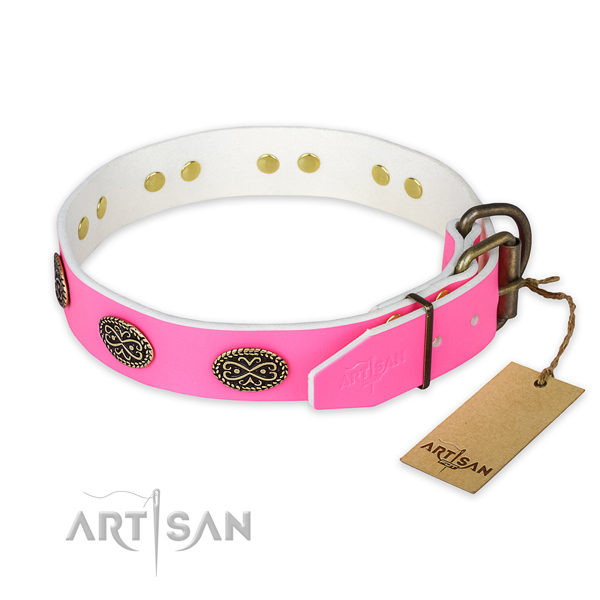 Pink Leather Dog Collar Decorated with Oval Plates