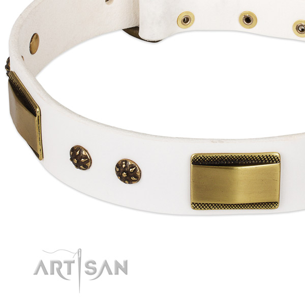 Bronze Look Decor on White Leather Dog Collar