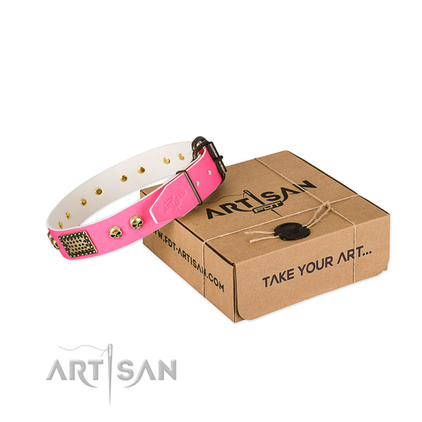 Stylish Pink Leather Dog Collar with Plates and Skulls