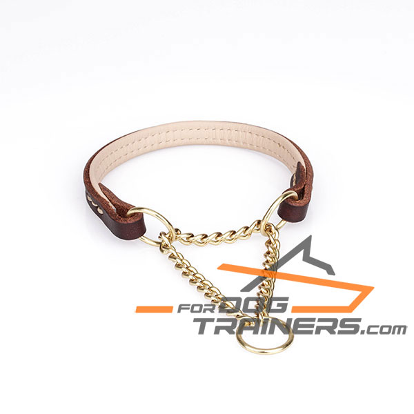 Padded Brown Leather Dog Collar with Brass Chain