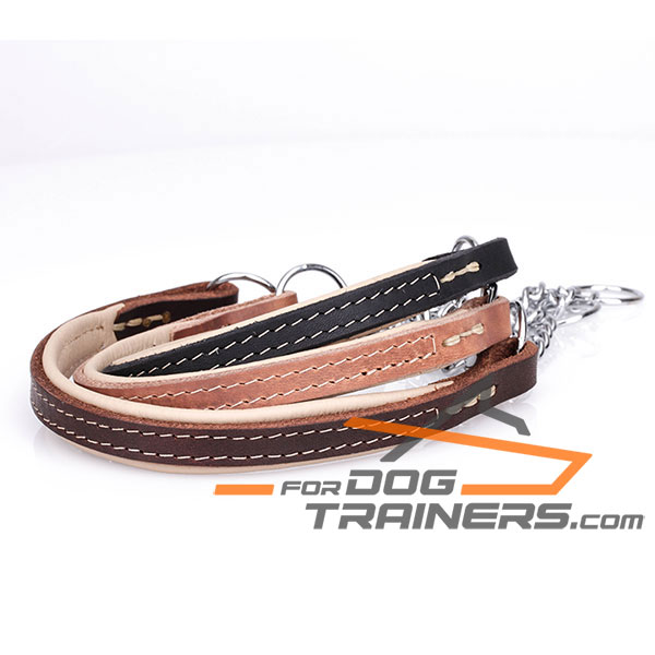 Black, Brown and Tan Dog Martingale Collar of Leather and  Chain