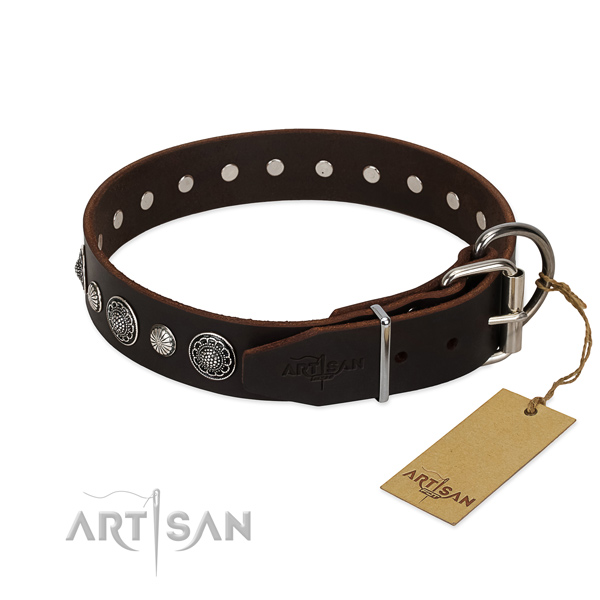 Brown leather FDT Artisan dog collar with chrome-plated buckle