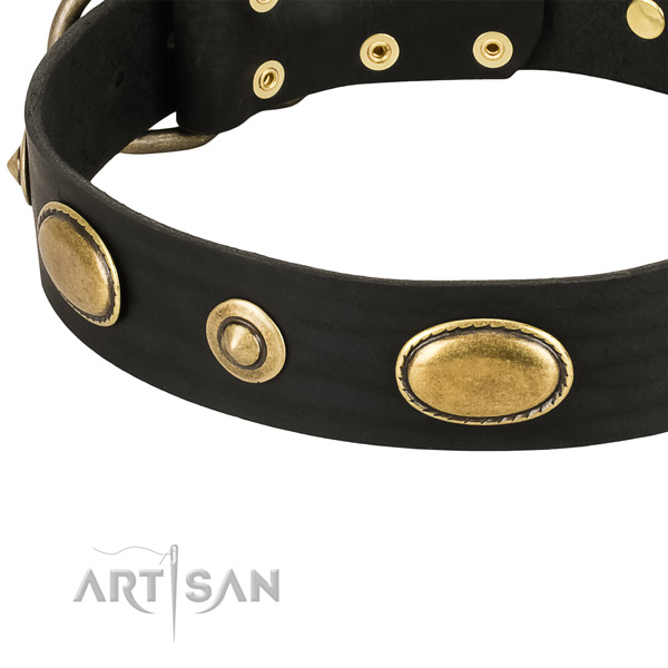 Decorative Leather Dog Collar with Bronze-Like Plated Decorations