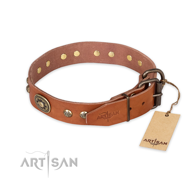 Genuine Leather Collar with Strong Hardware for Your Pet