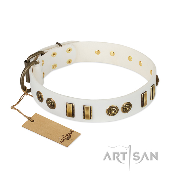 White leather dog collar with rust-proof adornment