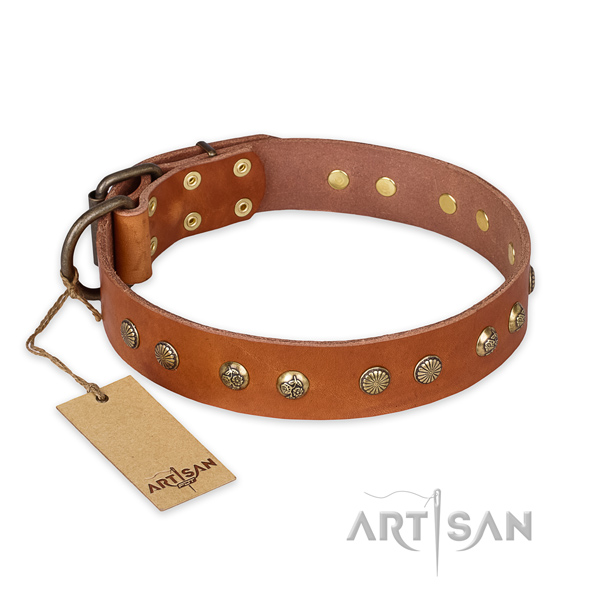 Leather Dog Collar with Durable Old Bronze Plated Buckle and D-Ring