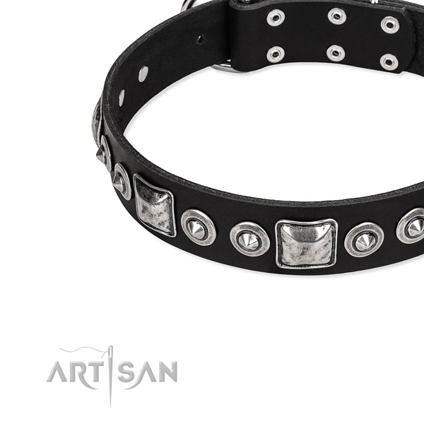 Eco-friendly black dog collar made of genuine leather
