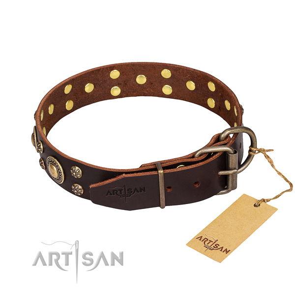 Brown leather dog collar with old bronze-like plated fittings