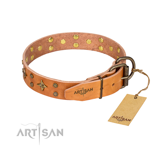 Tan leather dog collar with reliable hardware