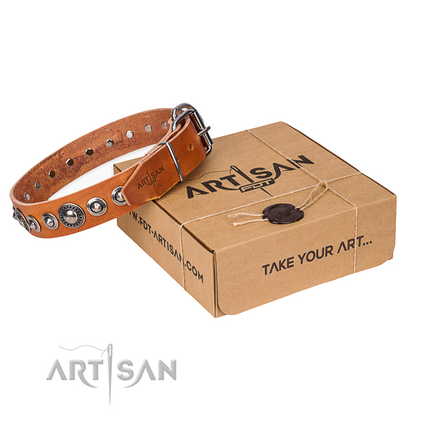 Convenient to wear tan leather dog collar