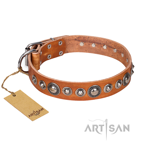 Handcrafted tan leather dog collar
