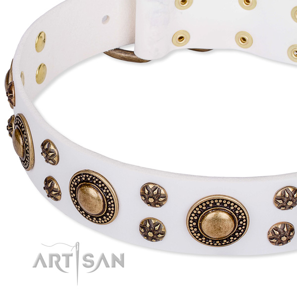Decorated by hand white leather dog collar