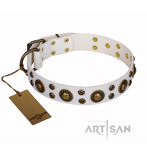 Adorned with bronze-like plated studs white leather dog collar