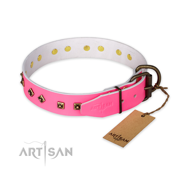 Stylish Pink Leather Dog Collar with Studs