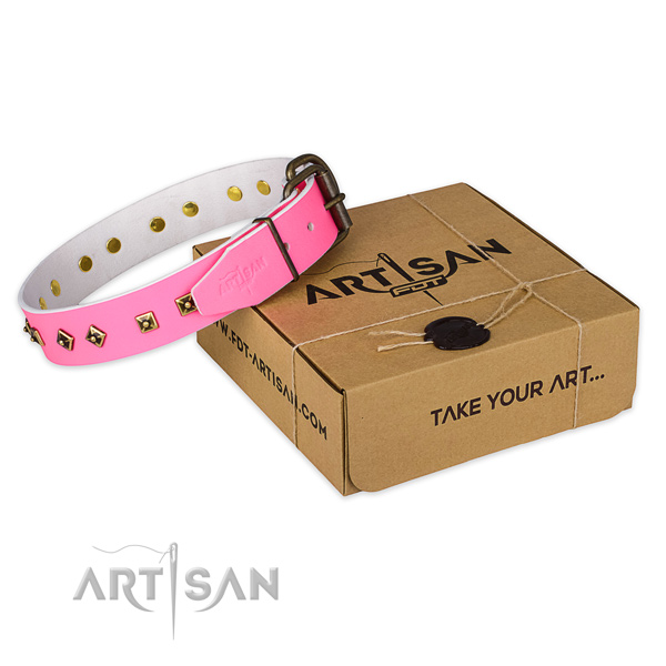 Fancy Pink Leather Dog Collar with Old Bronze Plated Decorations