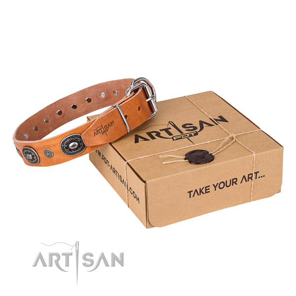 Hypoallergenic tan leather dog collar