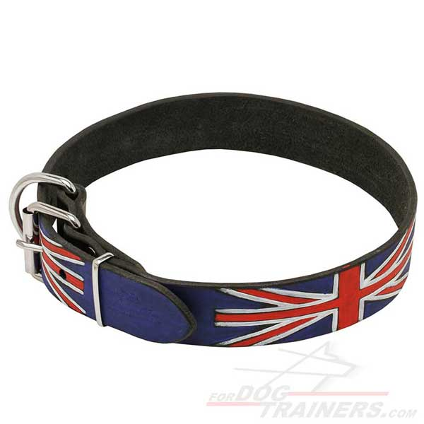 Walking Leather Dog Collar with Union Jack painting