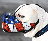 American Pride Painted Leather Muzzle for Dog Training