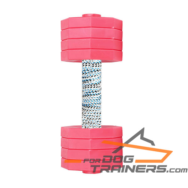 Wooden Dog Dumbbell with 8 Removable Plates of Red Color
