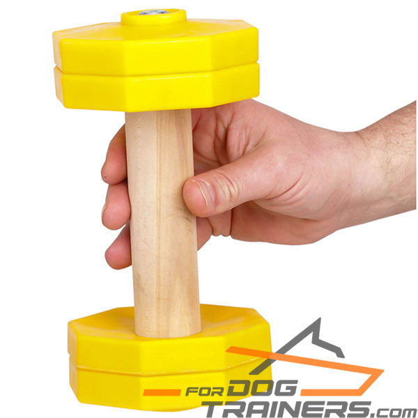 Strong wooden dog dumbbell