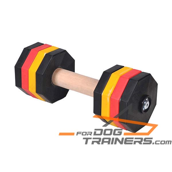 Hardwood dog dumbbell
