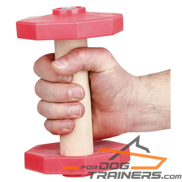 Convenient wooden dog dumbbell