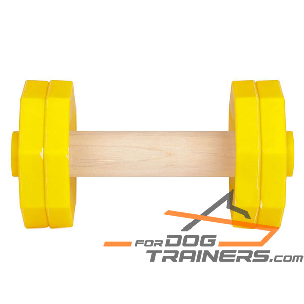 Sturdy dog dumbbell with wooden stick
