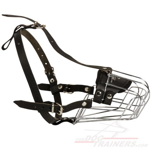 Wire Basket Adjustable Muzzle for Dog Walking and Training
