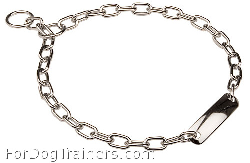 Fur Saver Dog Collar Steel Chromium Plated width 3 mm With Plate - 51521 (02)