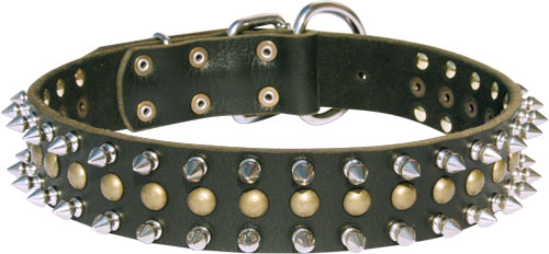 30% Discount - War Style Leather Dog Collar with Mix of Spikes and Studs